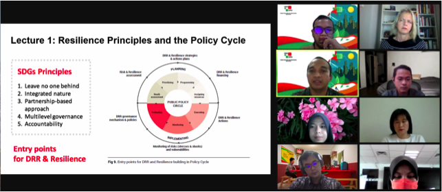 """UCLG-ASPAC presenter introduces """"Resilience Principles & the Policy Cycle"""" lecture. slide highlights 5 SDG principles + DRR & resilience policy cycle entry points"""