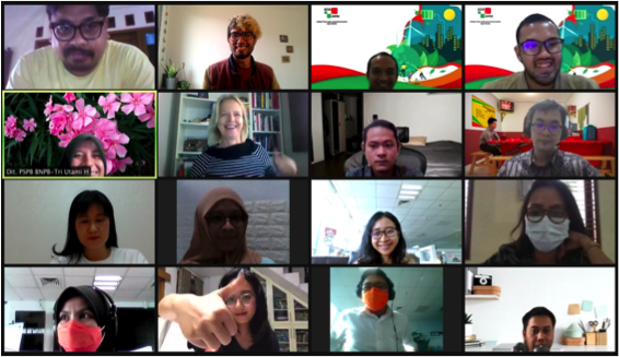 8 female & 8 male participants in the zoom meeting smiling. some are wearing masks and one is doing a bold thumbs up.